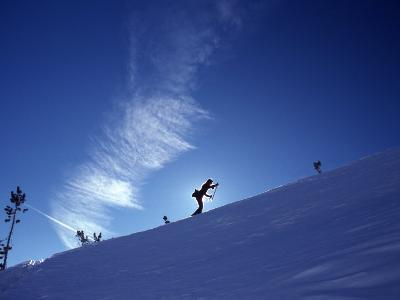 Silhouette of a Woman Cross Country Skiing Up a Snowy Slope, Mount Rose, Nevada, United States