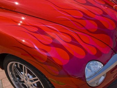 Close-Up of a Red Hot Rod Car, New London, Connecticut, USA