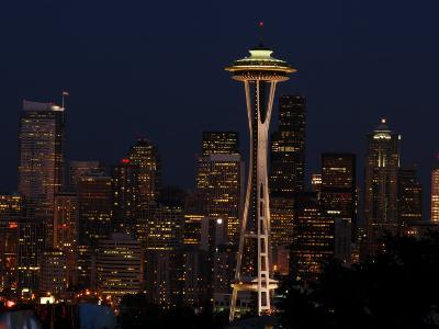 View of the Space Needle and Seattle's Skyline at Night, Washington