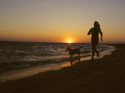 Woman and Her Dog Running Along Currituck Sound Beach at Sunset, Nags Head, North Carolina