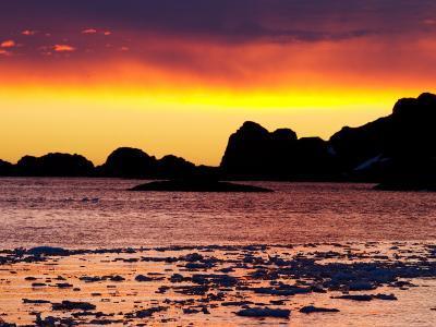 Dramatic Sky at Sunset over Antarctic Sea Ice, Antarctica