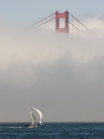 International 14 Skiff Sails under the Golden Gate Bridge, San Francisco Bay, California