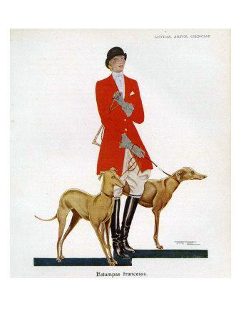 Woman in Hunting Outfit with Hounds, Magazine Plate, Spain, 1929