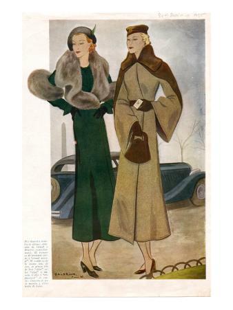 Spanish Fashion Coats, Magazine Plate, Spain, 1935