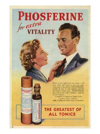Phosferine, Magazine Advertisement, UK, 1950