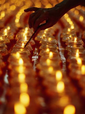 Hand Lighting Candles at Taoist Ceremony, Singapore, Singapore