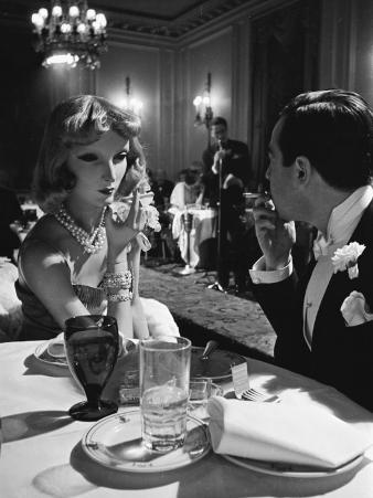 Mannequin Artist Lester Gabba Dining in Supper Club with Mannequin Cynthia