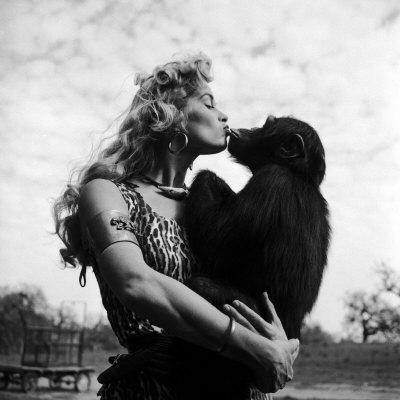Actress Irish McCalla, Sheena Queen of the Jungle, Kissing Her Chimpanzee Co-star