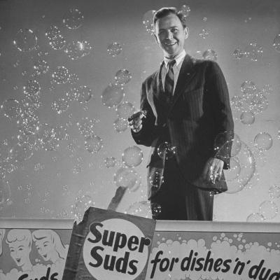 Douglas Leigh, Designer of Animated Signs, with Model of Bubbling Billboard for Super Suds