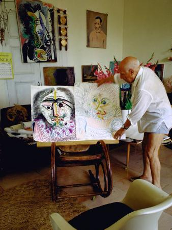 Pablo Picasso Arranging Displays of His Paintings at His Home in Notre-Dame-De-Vie, Mougins