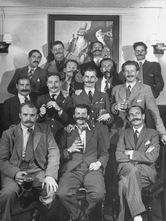 Members of Handlebar Club Posing for Photograph