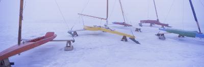 Ice Boats on a Frozen Lake, Grand Rapids, Kent County, Michigan, USA