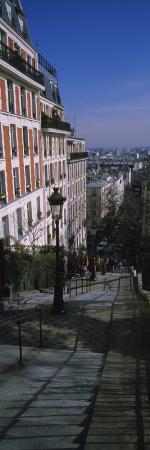 View of a Stepped Walkway, Rue De Mont Cenis, Montmartre, Paris, Ile-De-France, France