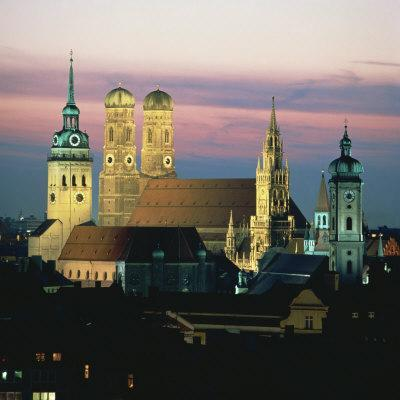 View of Frauenkirch and City at Night, Munich, Bavaria, Germany, Europe