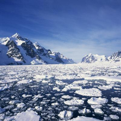 Loose Pack Ice in the Sea, with the Antarctic Peninsula in the Background, Antarctica