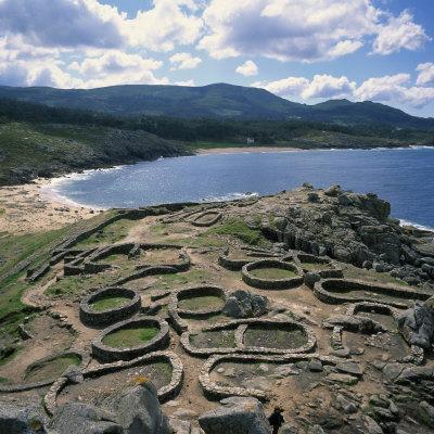 Celtic Ruins Near Porto Do Son, West Coast Castro De Barona, Galicia, Spain, Europe