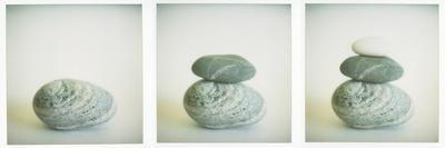 Polaroid Triptych of Sea-Worn Pebbles Created Using Three Polaroid Images