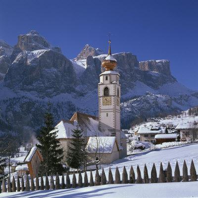 Church and Village of Colfosco, South Tirol, Trentino Alto Adige, Italy