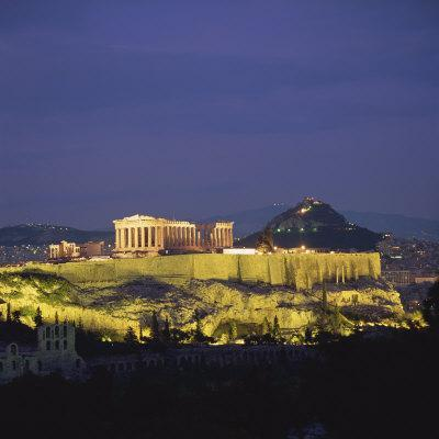 Parthenon and the Acropolis at Night, UNESCO World Heritage Site, Athens, Greece, Europe