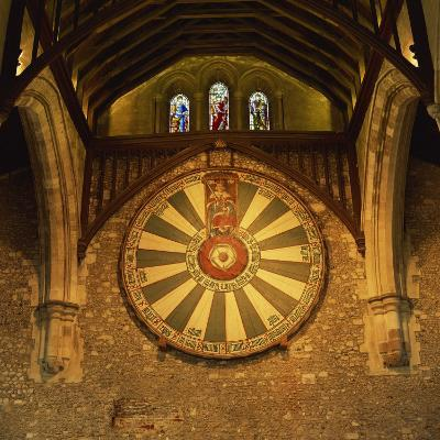 King Arthur's Round Table Mounted on Wall of Castle Hall, Winchester, England, United Kingdom