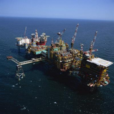 Platform and Drilling Rigs, Morecambe Bay Gas Field, England, United Kingdom, Europe