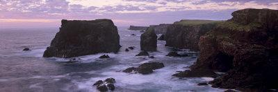 Sunset at Eshaness Basalt Cliffs, with Moo Stack on Left, Northmavine, Shetland Islands, Scotland