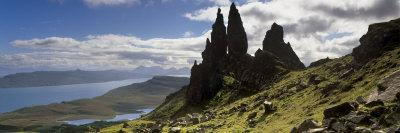 Old Man of Storr, Loch Leathan and Raasay Sound, Trotternish, Isle of Skye, Scotland