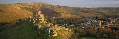 Corfe Castle and Village from West Hill, Isle of Purbeck, Dorset, England, United Kingdom, Europe