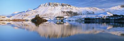 Llynnau Cregennen and Cadair Idris in Winter, Snowdonia National Park, Gwynedd, Wales, UK