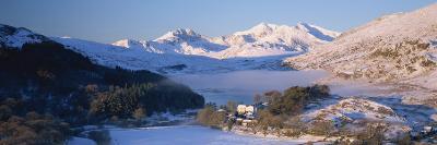 Mount Snowdon from Capel Curig in Winter, Snowdonia National Park, Gwynedd, Wales, United Kingdom