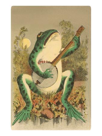 Frog Playing Banjo in Moonlight