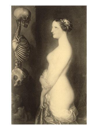 Woman Looking at Skeleton