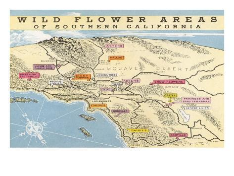 It is a photo of Printable Map of Southern California within editable
