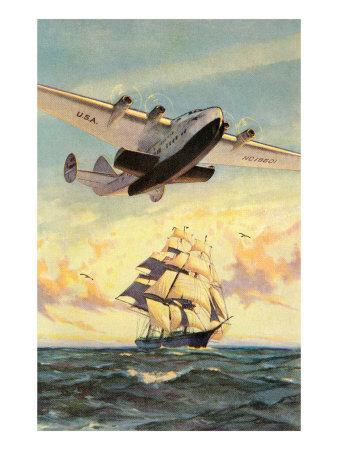 Airplane and Full-Rigged Clipper Ship