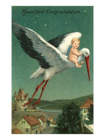 Baby Riding Stork over European Town