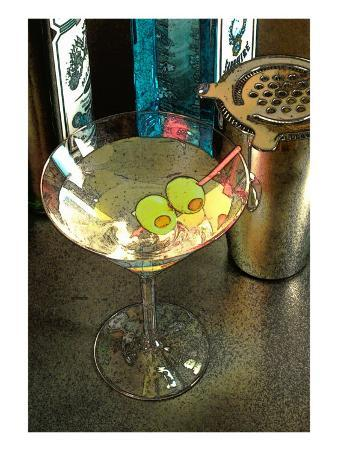 Martini with Two Olives on the Black Table