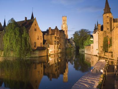 Canal and Belfry Tower in the Evening, Bruges, Belgium, Europe
