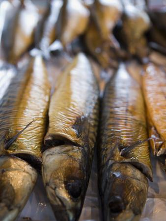 Smoked Herring in Fish Market, Bruges, Belgium, Europe
