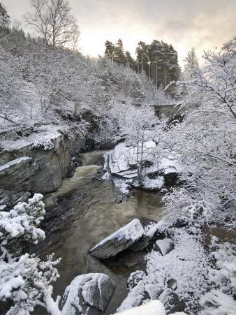 River Tromie in Winter Snow, Drumguish Near Kingussie, Highlands, Scotland, United Kingdom, Europe
