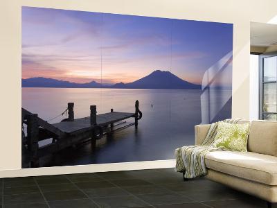 Jetty, Lake Atitlan and Volcano San Pedro, Dawn, Guatemala