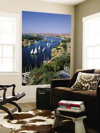 Nile River, Feluccas on the Nile River and Old Cataract Hotel, Aswan, Egypt