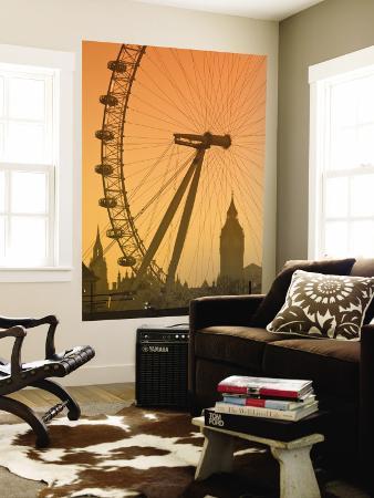 London Eye and Big Ben, South Bank, London, England