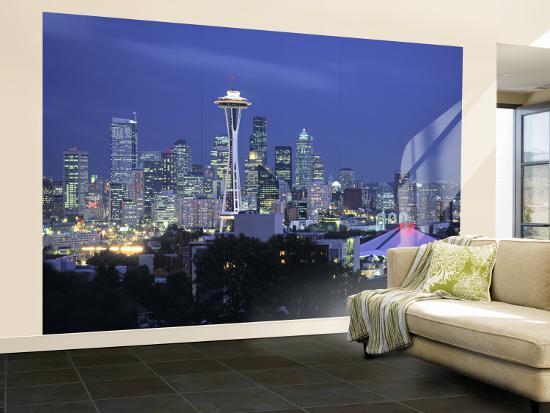Seattle Skyline Fr Queen Anne Hill Washington Usa Wall