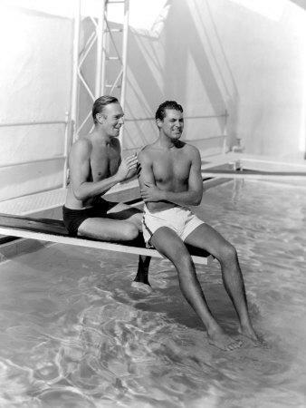 Randolph Scott and Cary Grant Poolside at their Santa Monica Beach Front House, 1935