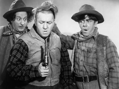 The Three Stooges in Western Garb for One of their Columbia Shorts, 1940s