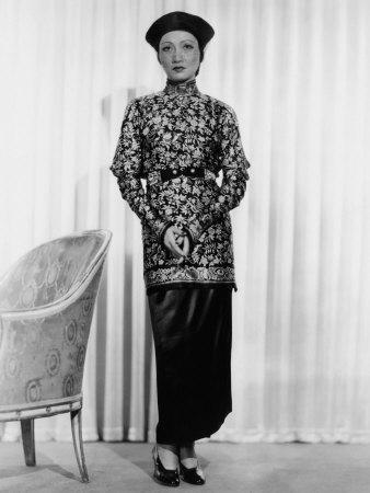 Limehouse Blues, Anna May Wong, in a Printed-Silk Tunic and Satin Skirt and Turban, 1934