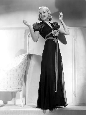 Betty Grable in Black Chiffon Dinner Dress, 1938