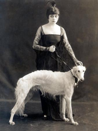 Theda Bara with Her Russian Wolfhound, Belva, 1916