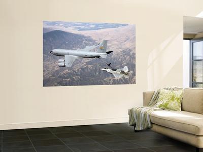 F-22 Raptor Receives Fuel from a KC-135 Stratotanker