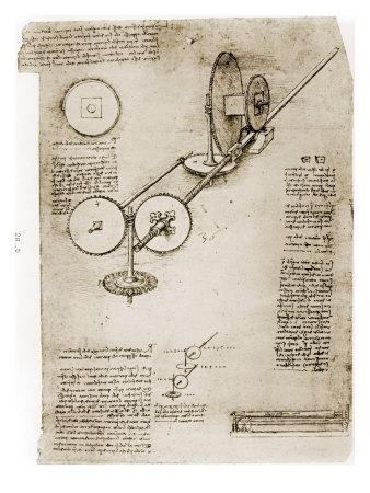 Page from the Notebooks of Leonardo Da Vinci Showing Geared Device Assembled, 1500